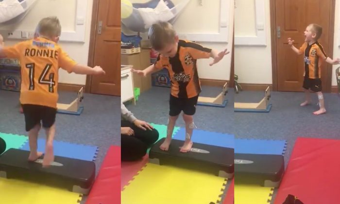 Ronnie Leys from Saffron Walden, Essex walked his first steps without splints after an operation. His father captured it in an inspiring video that went viral on Twitter. (Steve Leys/Twitter)