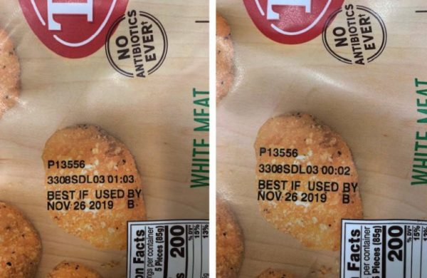 food labels of recalled chicken