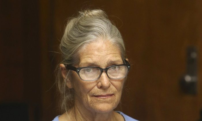 Leslie Van Houten at her parole hearing at the California Institution for Women in Corona, Calif., on Sept. 6, 2017. (Stan Lim/Orange County Register/SCNG via AP)