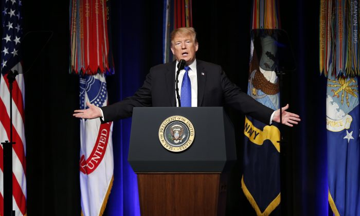 President Donald Trump speaks at the Pentagon on Jan. 17, 2019. (Martin H. Simon - Pool/Getty Images)