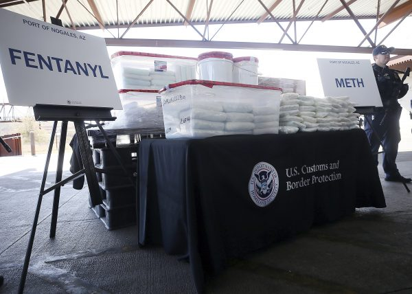 A display of fentanyl and meth seized by U.S. CBP officers at the Nogales Port of Entry is shown during a press conference on Jan. 31, 2019, in Nogales, Ariz. U.S. (Mamta Popat/Arizona Daily Star via AP)