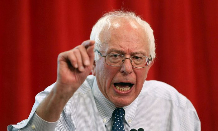 "U.S. Sen. Bernie Sanders (I-VT) speaks during a ""Brunch with Bernie"" campaign rally at the National Nurses United offices in Oakland, Calif., on Aug. 10, 2015. (Justin Sullivan/Getty Images)"