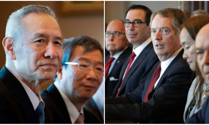 (L) The Chinese Delegation, including Vice Premier Liu He (L) and Governor of the People's Bank of China Yi Gang (2nd L) looks on during US-China Trade Talks in Washington, DC, on Jan. 30, 2019. (Jim Watson/AFP/Getty Images)