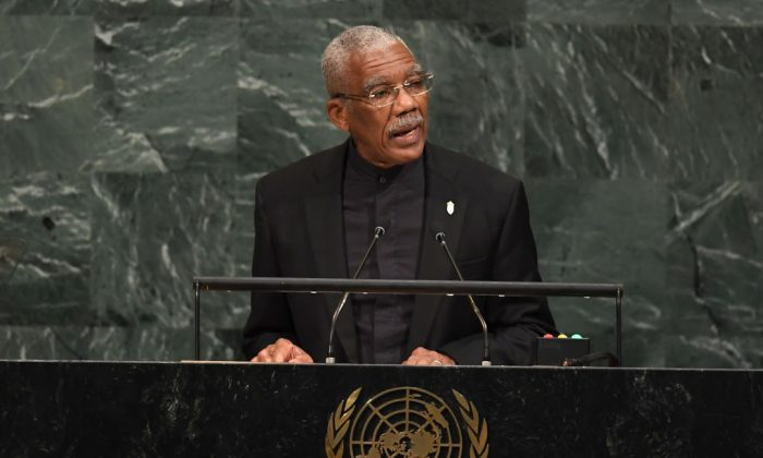 David Arthur Granger, President of Guyana, addresses the 72nd UN General Assembly at the U.N. in New York on Sept. 20, 2017.   (Angela Weiss/AFP/Getty Images)