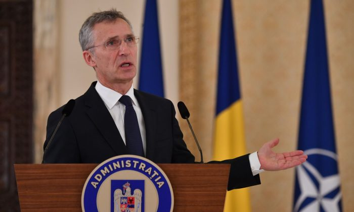 Nato's General Secretary Jens Stoltenberg speaks to the media at the Cotroceni palace, the Romanian Presidency headquarters in Bucharest, on Jan. 31, 2019. (Daniel Mihailescu/AFP/Getty Images)