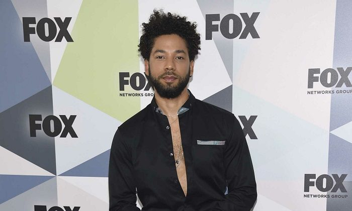 "Jussie Smollett, a cast member in the TV series ""Empire,"" attends the Fox Networks Group 2018 programming presentation afterparty in New York on May 14, 2018.(Evan Agostini/Invision/AP)"
