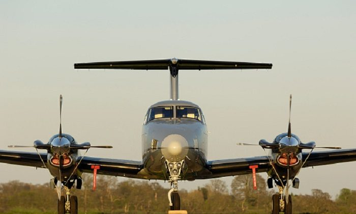 Synergy Aviation Beechcraft King Air B200 parked. (Aviation-images.com/UIG via Getty Images)