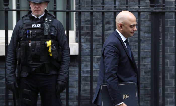 Interior Minister Sajid Javid leaves 10 Downing Street in London on Jan. 29, 2019. (Dan Kitwood/Getty Images)