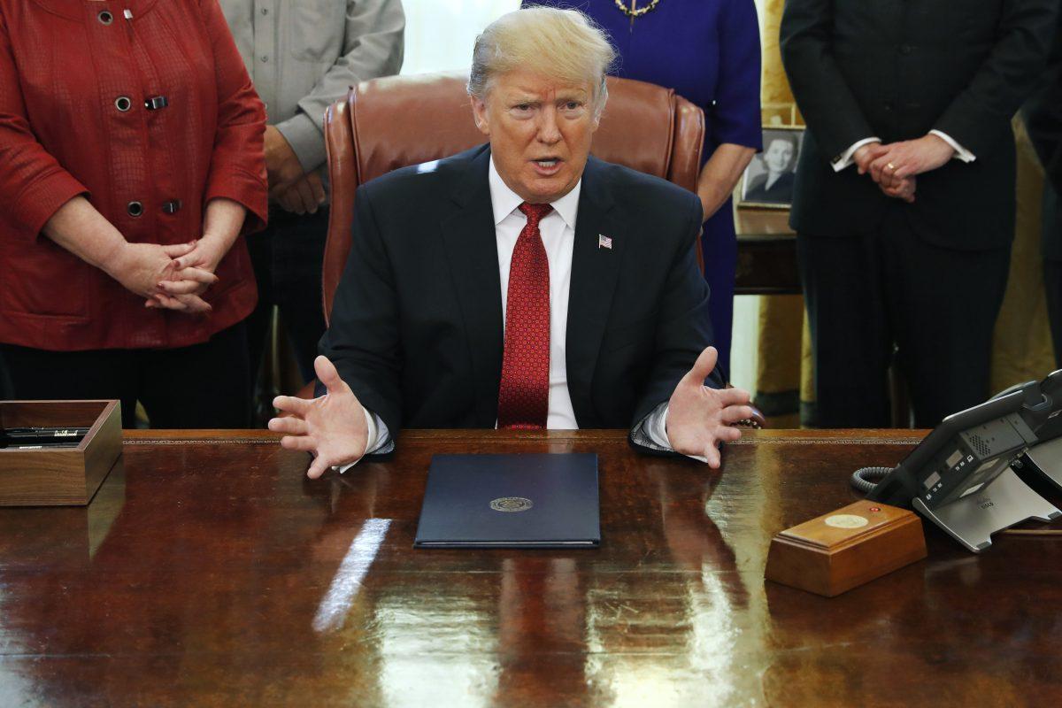 trump at bill signing