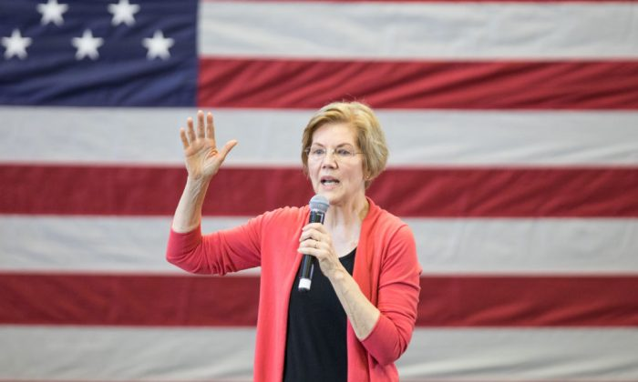 Sen. Elizabeth Warren (D-MA), speaks during a New Hampshire organizing event for her 2020 presidential exploratory committee at Manchester Community College on Jan. 12, 2019 in Manchester, New Hampshire. (Scott Eisen/Getty Images)