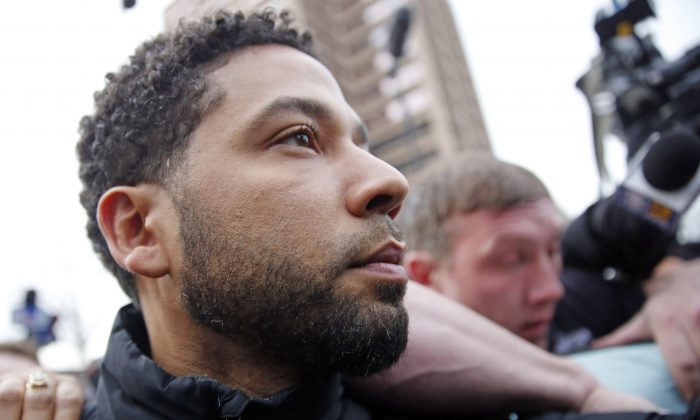 CHICAGO, ILLINOIS - FEBRUARY 21: Empire actor Jussie Smollett leaves Cook County jail after posting bond on February 21, 2019 in Chicago, Illinois. Nuccio DiNuzzo/Getty Images