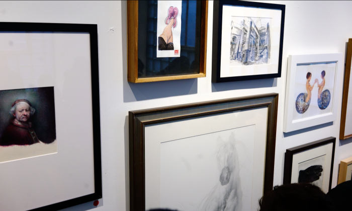 """Finished pieces by the artists in the """"Sketchbook Vol. 1"""" exhibition in the gallery of Sugarlift in Long Island City, Queens, New York on January 19, 2019. (Paul-Emile Cendron/Sugarlift)"""