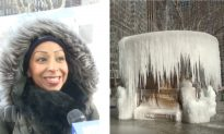 New York Gets a Winter Ice Jewel as Bryant Park Fountain Freezes