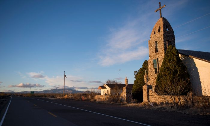 An abandoned Catholic church stands just off the road in Hachita, New Mexico, near the US–Mexico border on Feb. 19, 2017. (JIM WATSON/AFP/Getty Images)