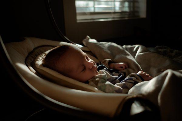 A baby sleeps.