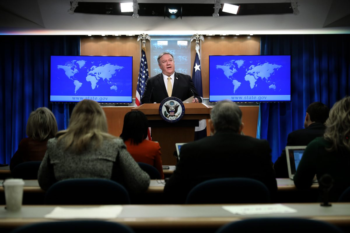 Secretary of State Mike Pompeo holds a news briefing