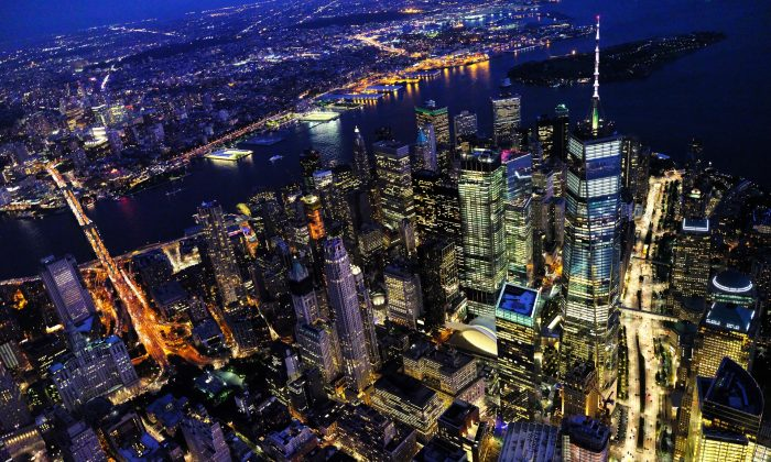 An aerial shot of downtown Manhattan at night. (Pixabay)