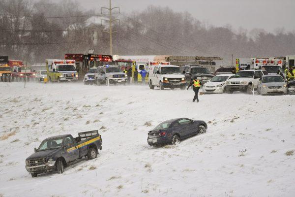 Car crash caused by snow