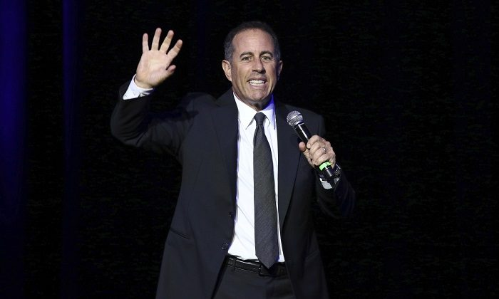 Jerry Seinfeld performs at Stand Up For Heroes, presented by the New York Comedy Festival and the Bob Woodruff Foundation, at The Theater at Madison Square Garden in New York, on Nov. 1, 2016.(Photo by Greg Allen/Invision/AP, File)