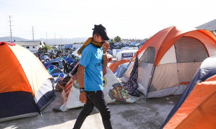 The new migrant camp, 10 miles from the U.S. border, in the Mariano Matamoros neighborhood of Tijuana, Mexico, on Dec. 2, 2018. (Charlotte Cuthbertson/The Epoch Times)