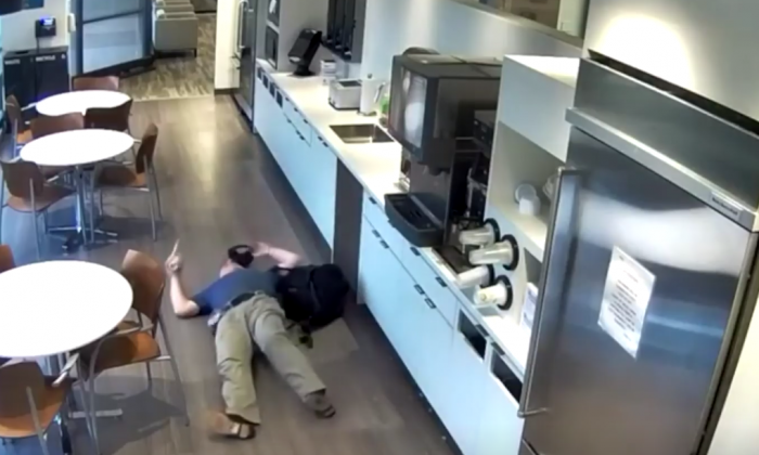 Alexander Goldinsky, 57, faked a fall and it was all caught on videotape. (Middlesex County Prosecutor's Office via Storyful)
