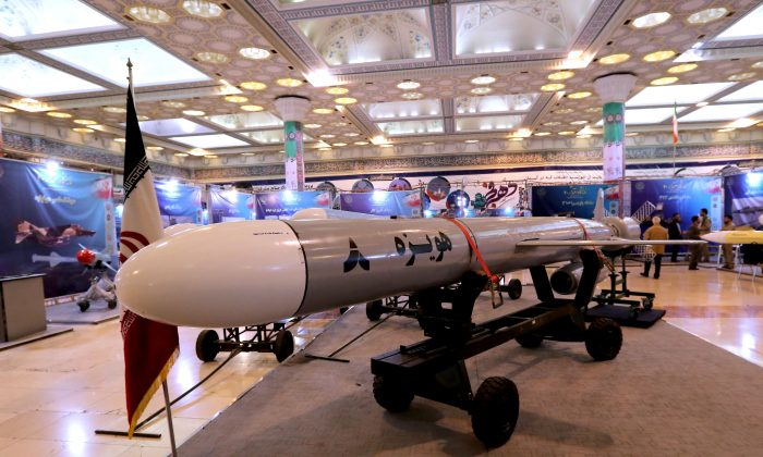 Hoveizeh, Iran's new cruise missile is shown during an exhibition in the capital Tehran on Feb. 2, 2019. (Atta Kenare/AFP/Getty Images)