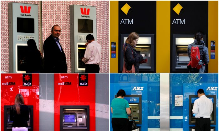 """A combination of photographs shows people using automated teller machines (ATMs) at Australia's """"Big Four"""" banks - Australia and New Zealand Banking Group Ltd (bottom R), Commonwealth Bank of Australia (top R), National Australia Bank Ltd (bottom L) and Westpac Banking Corp (top L).    (Reuters/Staff)"""