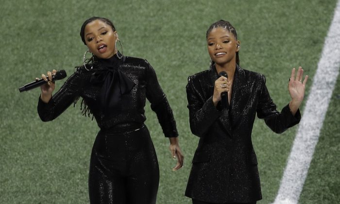 Chloe x Halle perform before the NFL Super Bowl 53 football game between the Los Angeles Rams and the New England Patriots in Atlanta, on Feb. 3, 2019. (Charlie Riedel/AP)