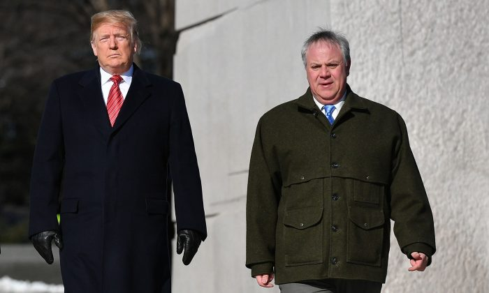 President Donald Trump (L) and acting Interior Secretary David Bernhardt in Washington on Jan. 21, 2019. (Mandel Ngan/AFP/Getty Images)
