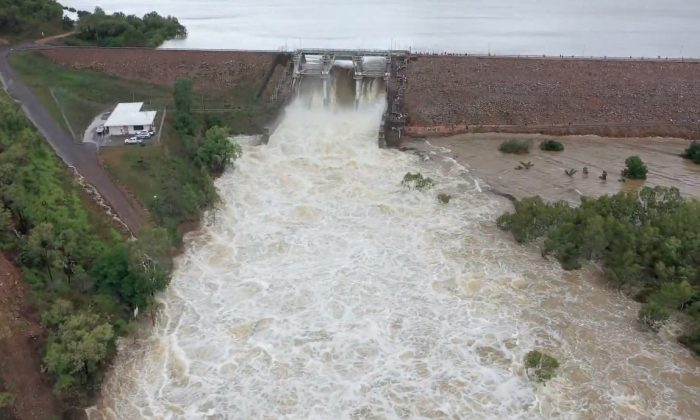 Ross River Dam at over 230 percent capacity in Far North Queensland, Australia. (Neilly Group Engineering/Storyful)
