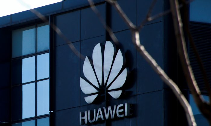 Company logo at the office of Huawei in Beijing seen on Dec. 6, 2018. (Thomas Peter/Reuters)