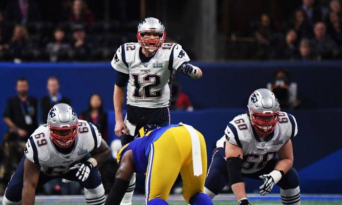 Tom Brady #12 of the New England Patriots shouts in the second half Super Bowl LIII at Mercedes-Benz Stadium in Atlanta, Georgia, on Feb. 3, 2019. (Harry How/Getty Images)