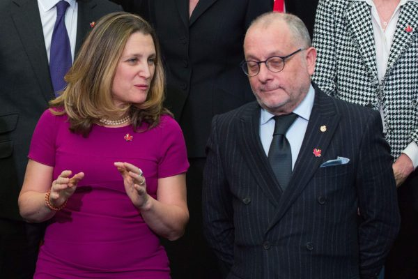Canadian Minister of Foreign Affairs Chrystia Freeland speaks with Argentina's Minister of Foreign Affairs Jorge Marcelo Faurie during the family photo of a meeting of Lima Group in Ottawa on Feb. 4, 2019. (Lars Hagberg/AFP/Getty Images)