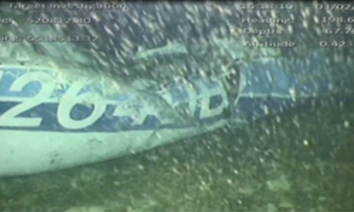 The wreckage of the missing aircraft carrying soccer player Emiliano Sala is seen on the seabed near Guernsey, in this still image taken from video taken Feb. 3, 2019. (AAIB/ via Reuters TV)