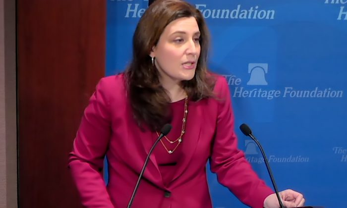 """Screenshot of Assistant Attorney General Beth Williams speaking at the Heritage Foundation panel """"The Legitimacy of Nationwide Injunctions"""" in Washington on Feb. 4. (Screenshot Heritage Foundation)"""