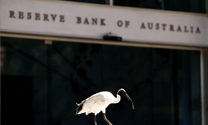An ibis bird perches next to the Reserve Bank of Australia headquarters in central Sydney, Australia Feb. 6, 2018. (Daniel Munoz/Reuters)