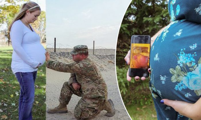 Angie Kessenich of Kessenich Photography used her editing skills to include one expectant mother's deployed military husband into maternity shoot. (Photo courtesy of Kessenich's Photography)