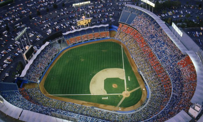 File photo showing a general view of Dodger Stadium, home of the Los Angeles Dodgers during a game in the 1990 MLB season at Chavez Ravine in Los Angeles, California. (Getty Images)