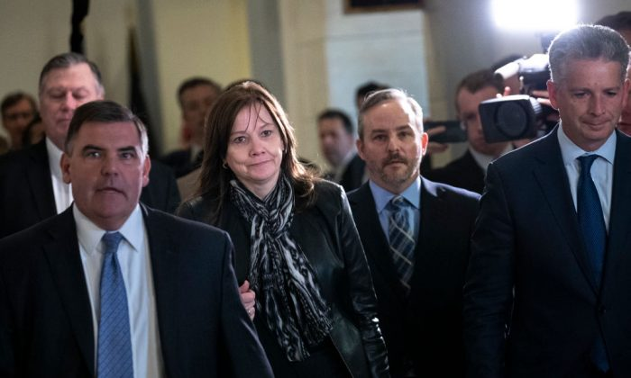 Mary Barra, chief executive officer of General Motors (GM), arrives for a meeting with Sen. Rob Portman (R-OH) and Sen. Sherrod Brown (D-OH) on Capitol Hill, Dec. 5, 2018 in Washington, DC. (Drew Angerer/Getty Images)