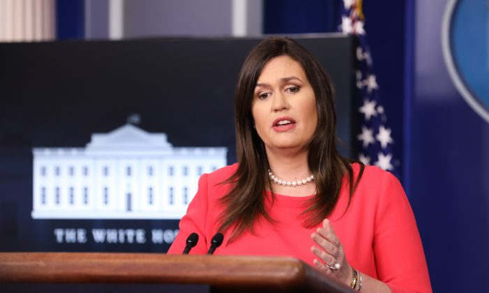 White House Press Secretary Sarah Sanders speaks during a press briefing at the White House in Washington on Jan. 28, 2019. (Holly Kellum/NTD)