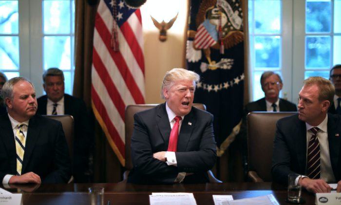President Donald Trump (C) leads a meeting of his Cabinet, including acting Interior Secretary David Bernhardt (L) and acting Defense Secretary Patrick Shanahan, in the Cabinet Room at the White House January 02, 2019 in Washington, DC. (Chip Somodevilla/Getty Images)