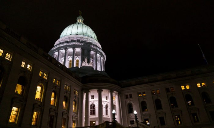The Wisconsin State Capitol where late night debate is taking place over contentious legislation December 4, 2018 in Madison, Wisconsin. (Andy Manis/Getty Images)