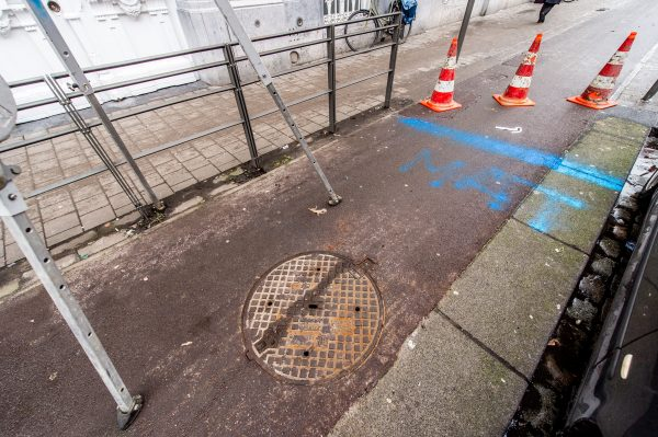 The blue lines on the ground indicate where the tunnels are located