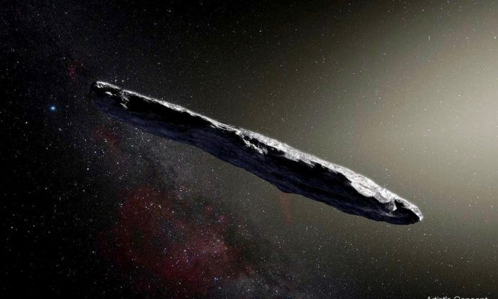 This artist's impression shows the first interstellar asteroid: `Oumuamua. This unique object was discovered on Oct. 19, 2017, by the Pan-STARRS 1 telescope in Hawai`i. Subsequent observations from ESO's Very Large Telescope in Chile and other observatories around the world show that it was travelling through space for millions of years before its chance encounter with our star system. (European Southern Observatory/M. Kornmesser)