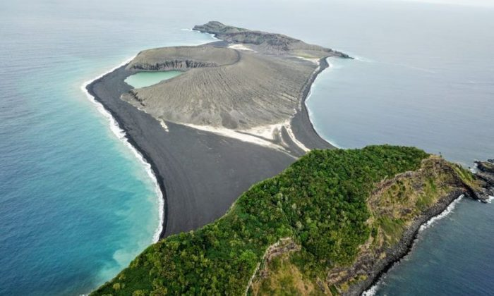 The three-year-old volcanic island (center) as seen from the SEA drone. (Sea Education Association / SEA Semester)