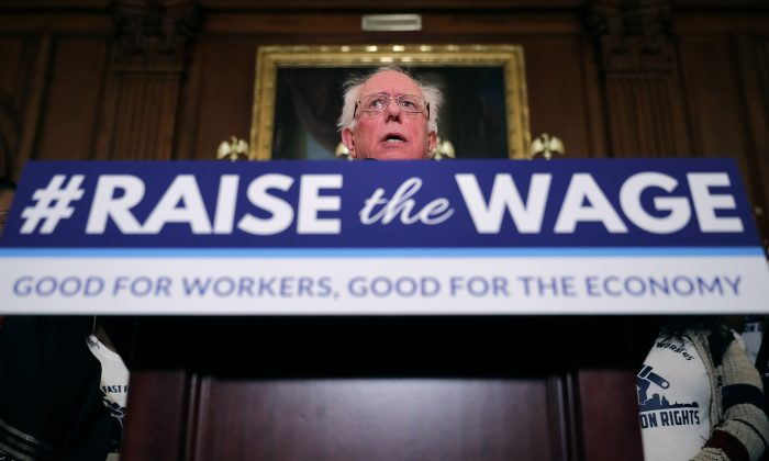 Sen. Bernie Sanders (I-Vt.) speaks during an event to introduce the Raise The Wage Act in the Rayburn Room at the U.S. Capitol in Washington on Jan. 16, 2019. (Chip Somodevilla/Getty Images)