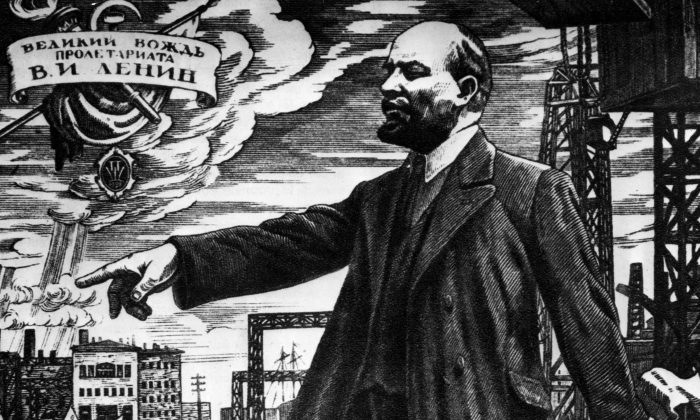 Russian revolutionary leader Vladimir Ilyich Lenin (1870–1924) addressing a crowd during the Russian revolution, circa 1917.  (Hulton Archive/Getty Images)