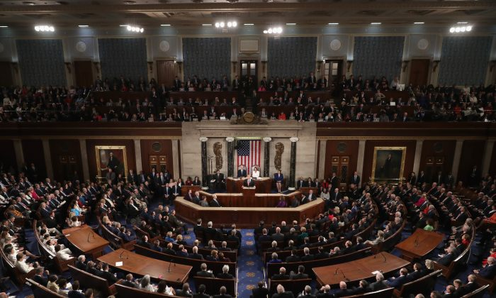 President Donald Trump delivers the State of the Union address in the chamber of the U.S. House of Representatives at the U.S. Capitol Building on Feb. 5, 2019. (Chip Somodevilla/Getty Images)