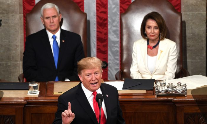 President Donald Trump delivers the State of the Union address at the Capitol in Washington, on Feb. 5, 2019.  (JIM WATSON/AFP/Getty Images)