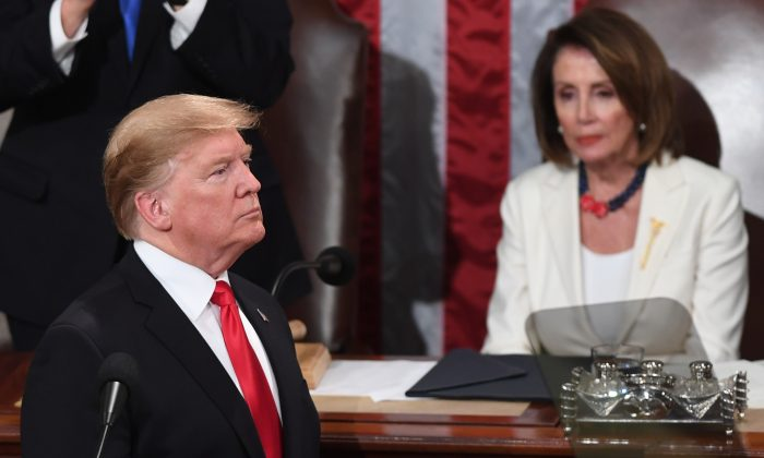 US President Donald Trump, delivers the State of the Union address at the US Capitol in Washington, DC, on February 5, 2019.  SAUL LOEB/AFP/Getty Images